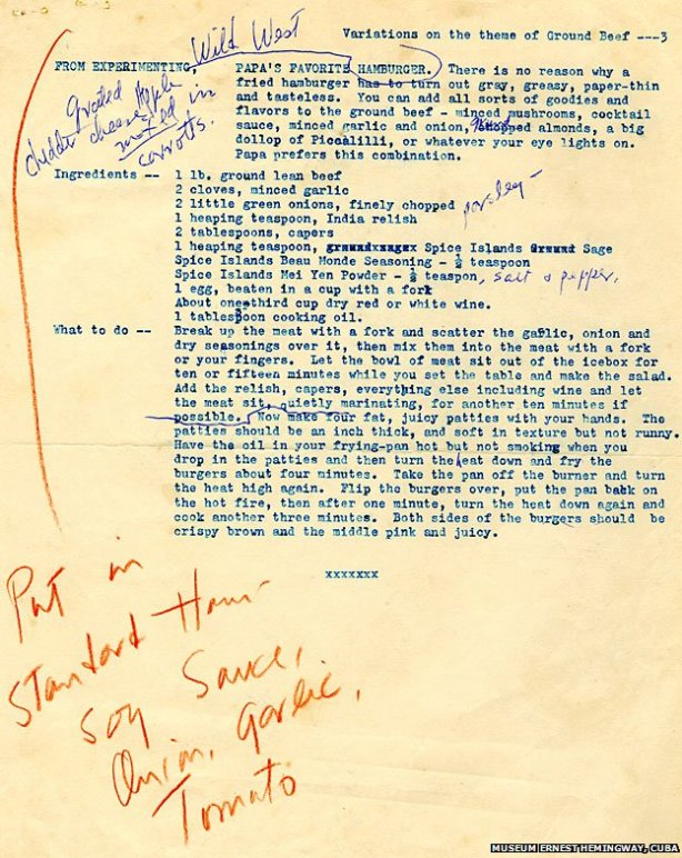 Hemingway's burger notes
