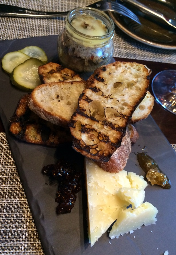Duck rillette with house made pickles, mustard, and Fiore Sardo cheese