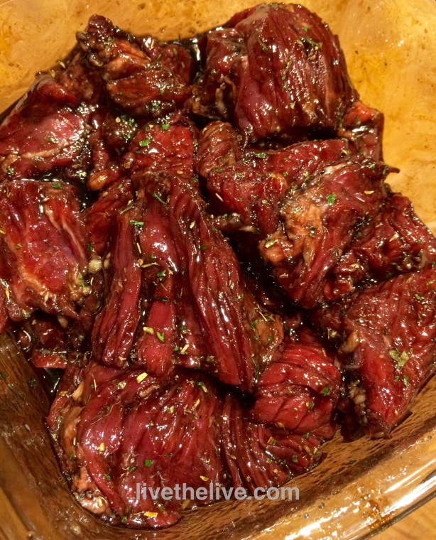 Marinated beef, ready to cook.