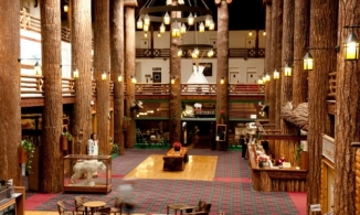 The spectacular interior of the Many Glacier Hotel. (Not my photo.)