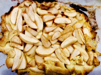 I used apples, and couldn't even fold the dough over the sides because it kept crumbling. Despite the fact that it wasn't too pretty, it tasted great!