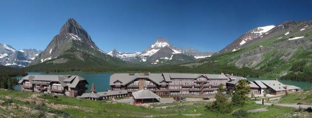 The breathtaking scenery from any room at the Many Glacier Hotel. (Not my photo.)