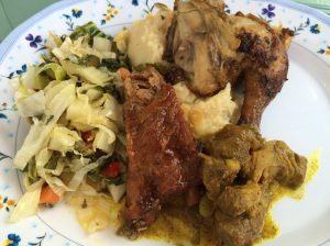 Sunday brunch: ribs, mahi, chicken, curried goat, and veggies.