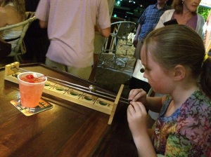 Bar games powered by Shirley Temples at the Beach Bar.