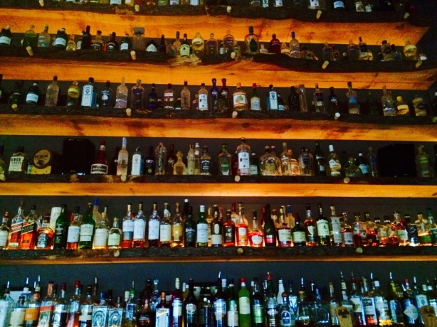 The well-stocked bar at Earth.