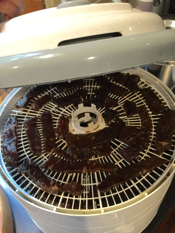 Jerky in the dehydrator.