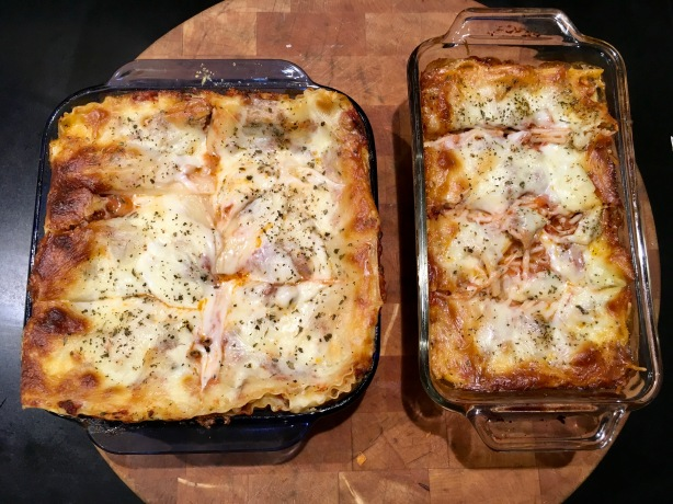 Basic lasagna on the left, gluten-free on the right. I couldn't find GF lasagna sheets, so I used bundles of spaghetti! It worked really well!