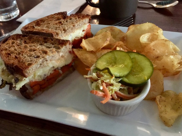 "Reuben sandwich with ""carrot pastrami."""